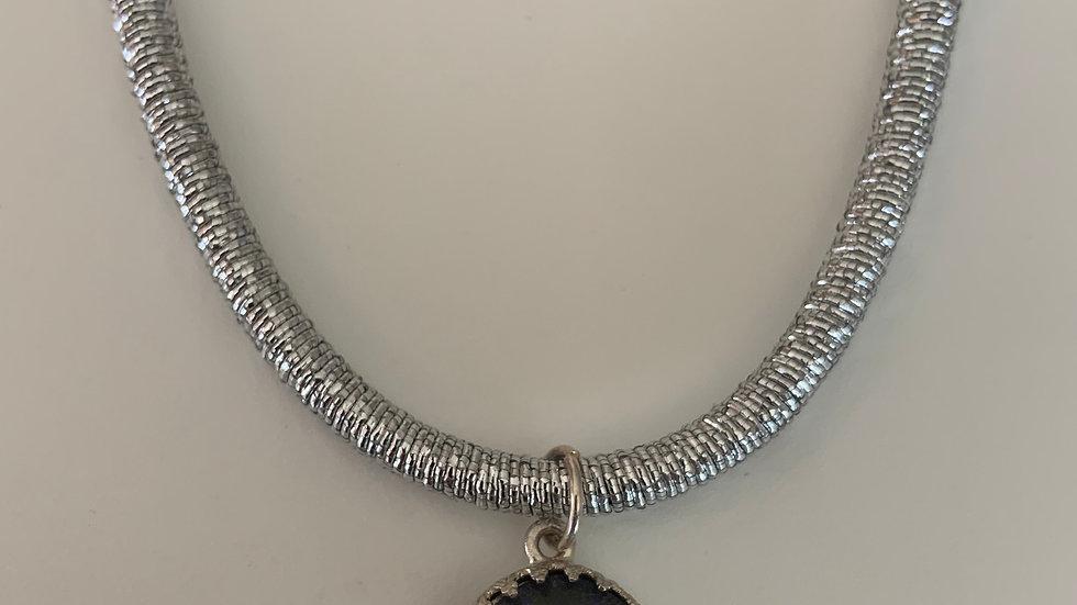 Silver Aquamarine Crystal Necklace