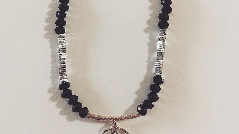 Amethyst Black & Silver Necklace
