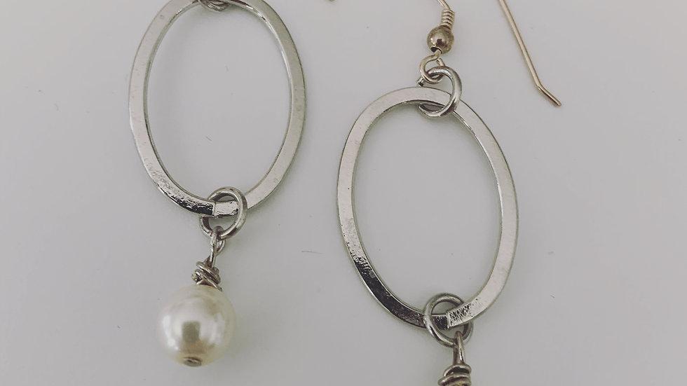 Silver Oval Hoop & Pearl Earrings