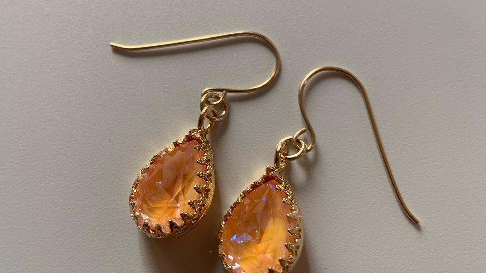 Peach Amber Swarovski Crystal Earrings