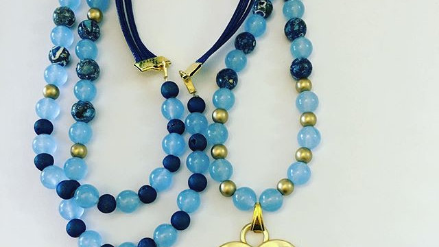 Blue and Blue Heart Necklace