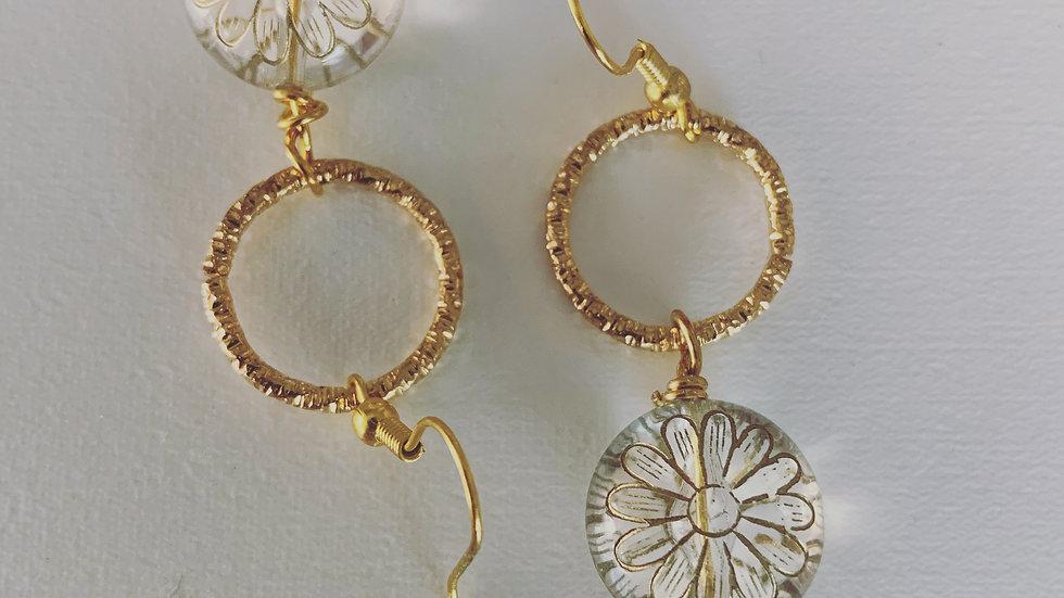Golden Acrylic Dangling Earrings
