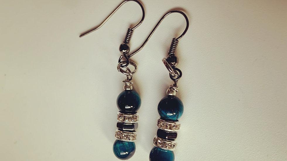 Blue-Green Stone Earrings