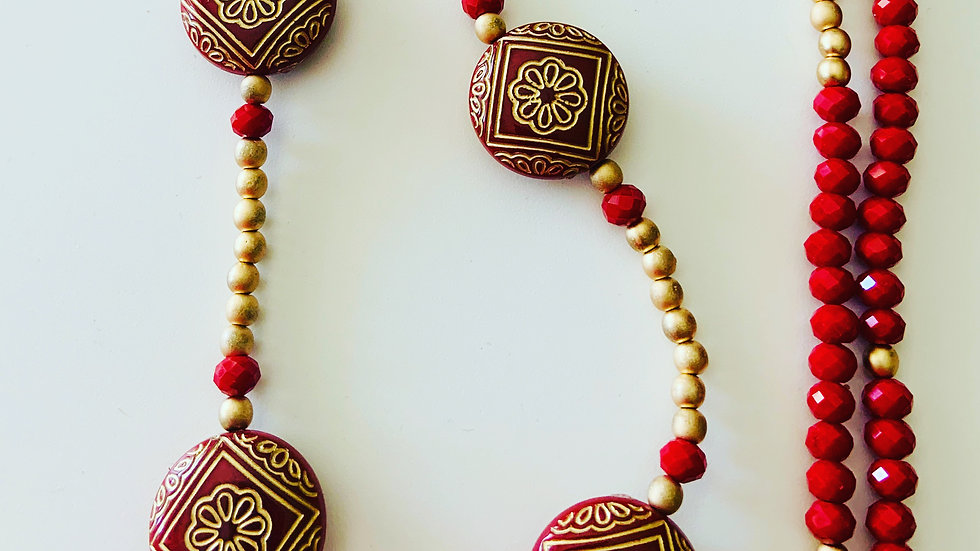 Red & Gold Long Necklace