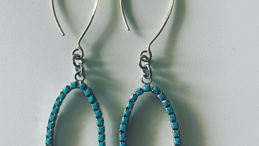 Silver & Turquoise Oval Hoop Earrings