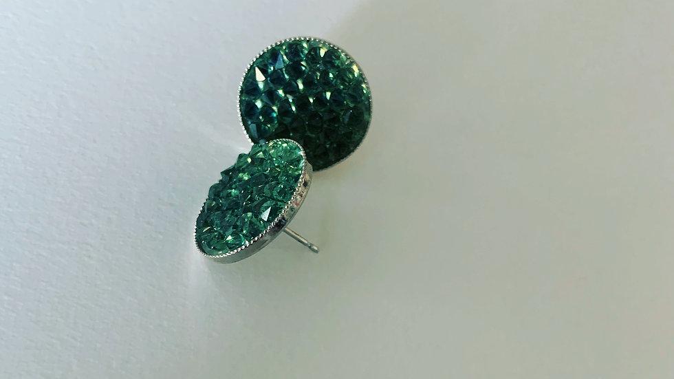 Emerald Green Silver Earrings