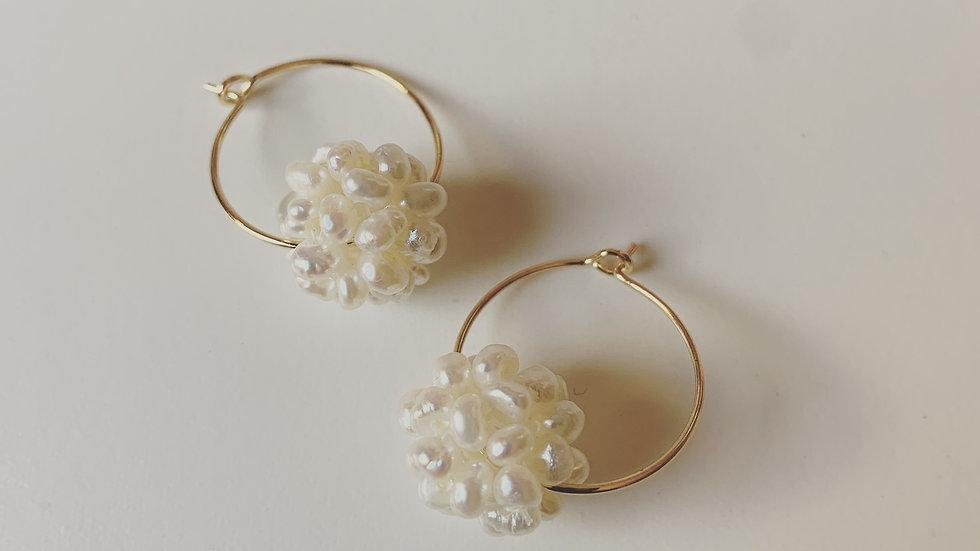 Hoop Pearl Cluster Earrings