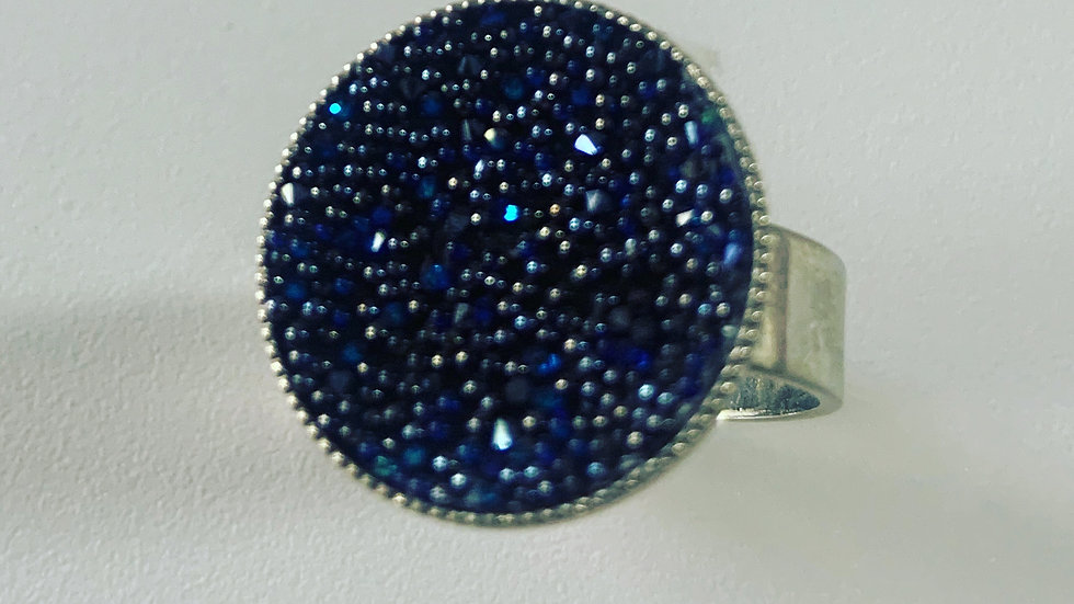 Royal Blue Swarovski Silver Ring
