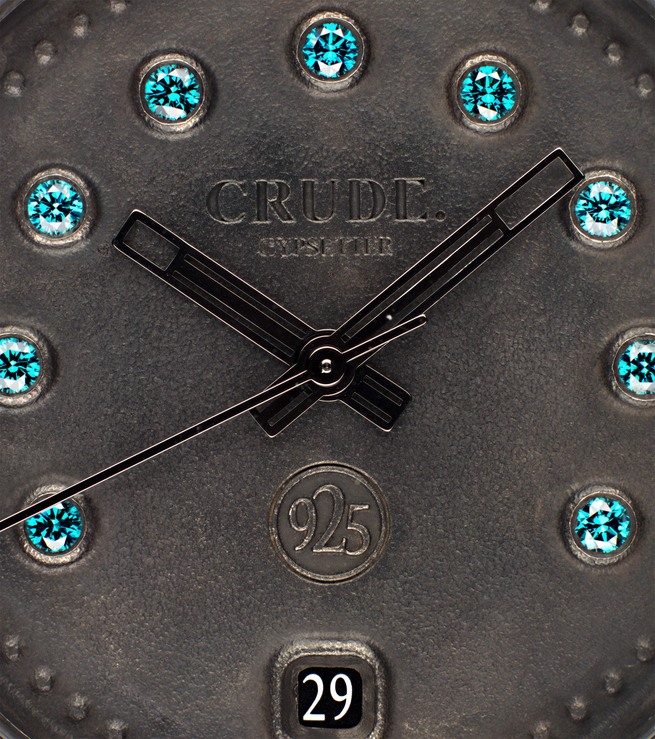crude watch blue diamonds dial