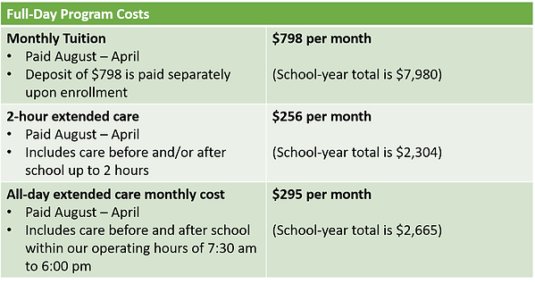 Springs East Full-Day Tuition and Extended Care Costs