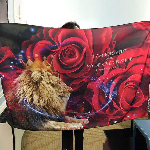 Lion with Roses - Medium Banner