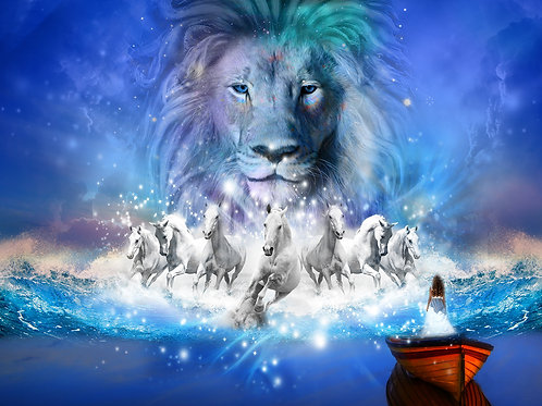 Lion with horses - Small Banner