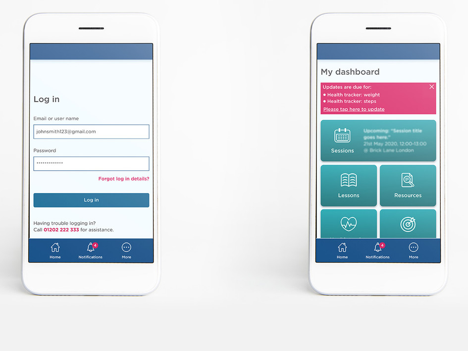 Wellbeing app design