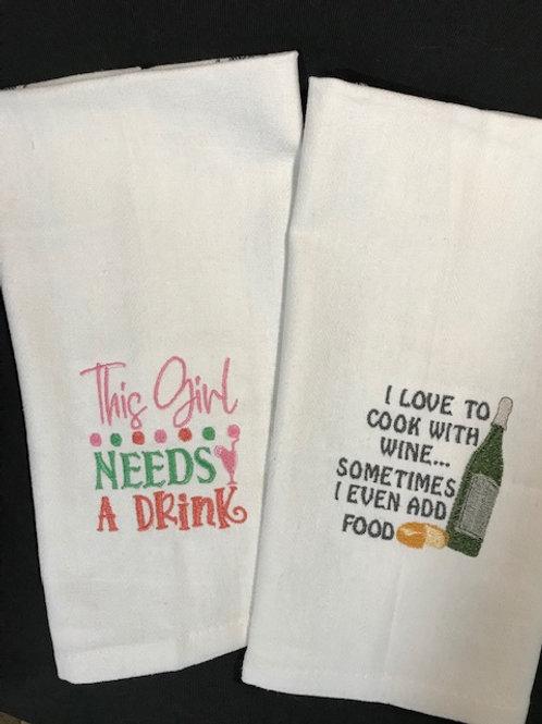 Flour Sack Kitchen Towel with Dark Gray Stripes