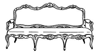 Drawing of an antique sofa
