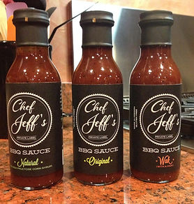 Chef Jeff's BBQ sauce bottles lned up