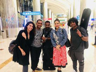 Vivek Nambiar, Tuanna Gurdal and sunny leone at Dubai Airport