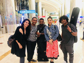 Vivek Nambiar, Tuanna Gurdal and sunny leone at Dubai Airport
