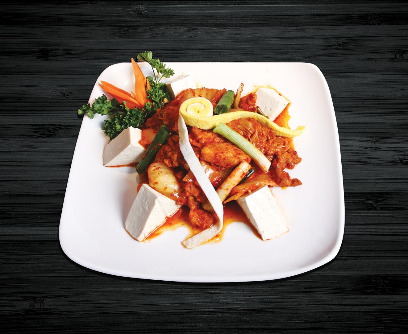 Kimchi and Stir-fried Pork & Tofu