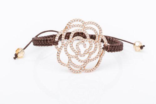 Bracelet rosace macramé bronze
