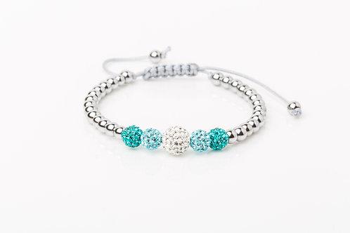 Bracelet 5 strass turquoise