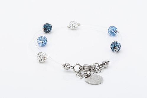 Bracelet 3 fil de pêche bleu