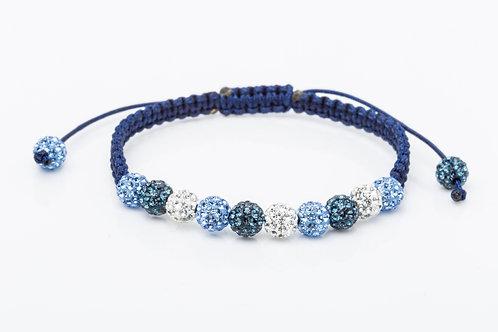 Bracelet strass macramé bleu