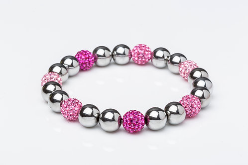 Bracelet ematite strass rose