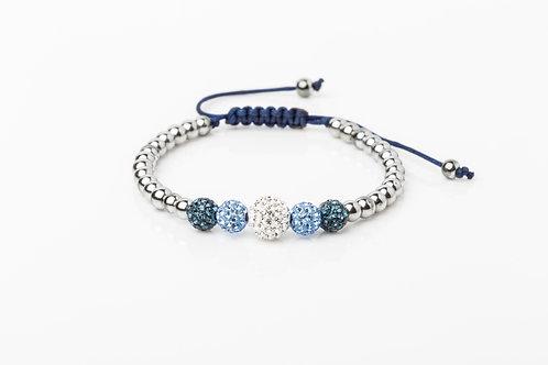 Bracelet 5 strass bleu