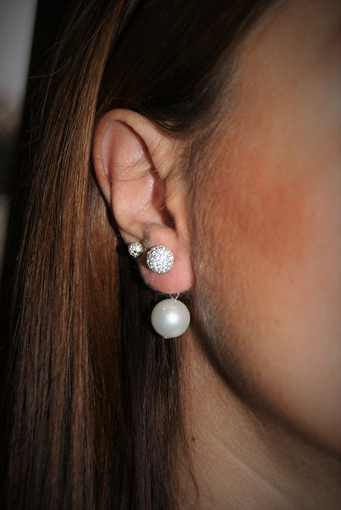 boucles double perle/strass