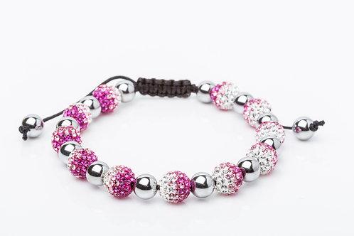 Bracelet strass dégradé rose