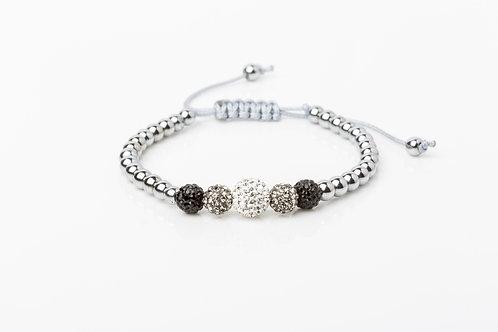 Bracelet 5 strass noir