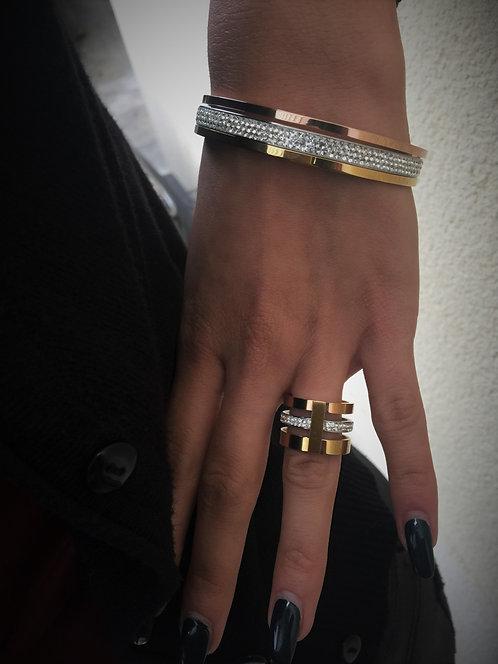 Bracelet assortiment strass doré&bronze