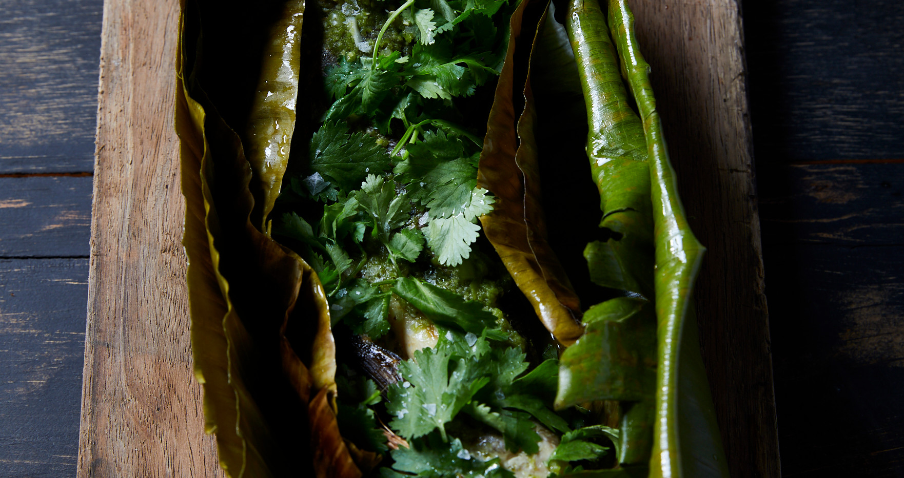 Banana Leaf Roasted Trout with Salsa Verde