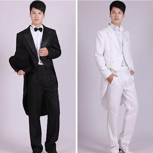Men Suits 4 Piece (Jacket+Pants T+Bow Tie+Belt) Tailcoat Suits Slim Fit