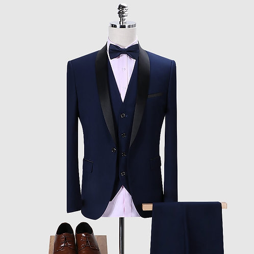 Wedding Luxury Suit for Men High-End Tuxedo Slims Design Collar Dress Suit Set