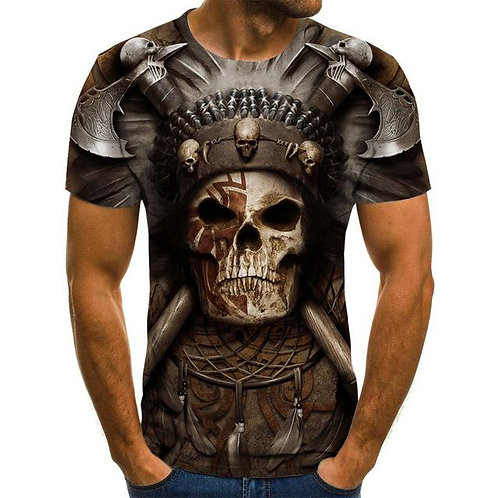New Men's Summer Skull 3D Print T Shirt Casual Breathable Funny T Shirts