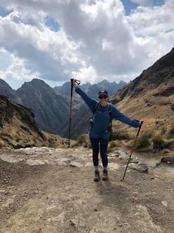 Rebecca hiking in South America