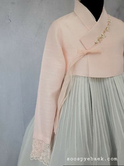 Blush and Aqua Set with Lace Sleeves