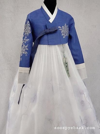 Blue Embellished Set with Floral Skirt