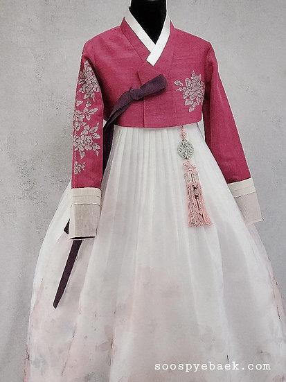 Wine Embellished Set with Floral Skirt
