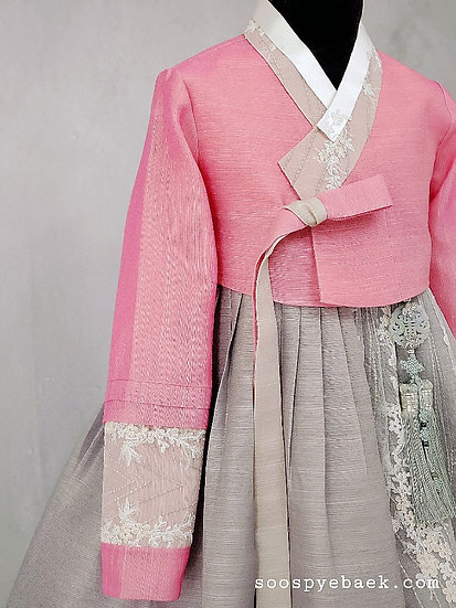 Pink and Grey Lace Set