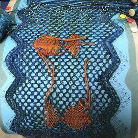 Lynne Harper bobbin lace silk scarf