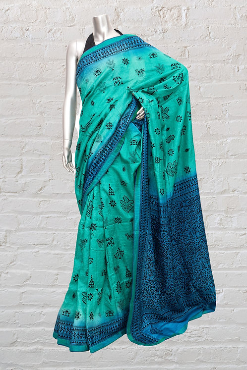 Kantha Saree: Shaded Warli