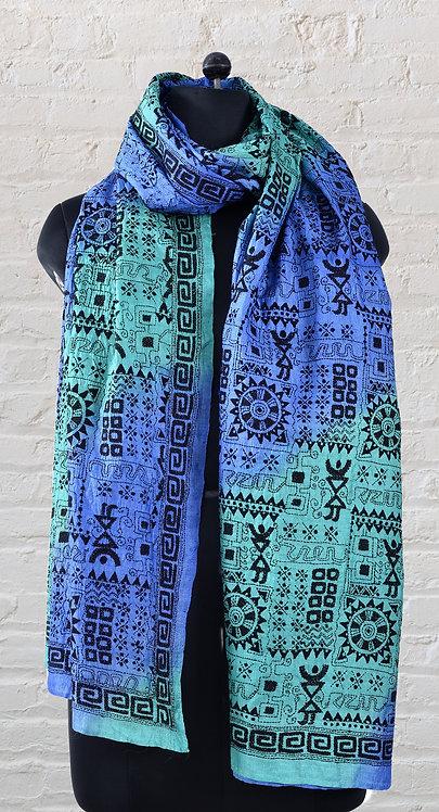 Kantha Dupatta: Tie and Dye Warli /538