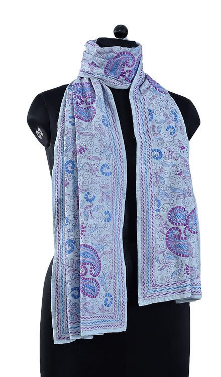 Kantha Scarf: Paisley Jaal (373)