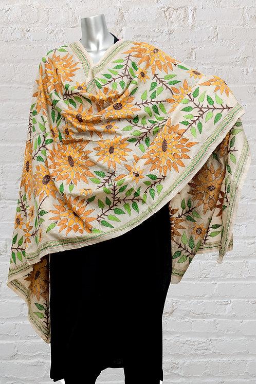 Kantha Dupatta: Sunflower