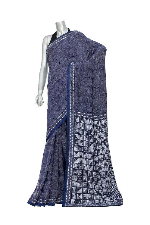 Kantha Saree: Optical Square /MKC-125