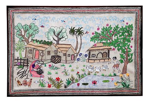 Kantha StitchArt: Village Scene/095