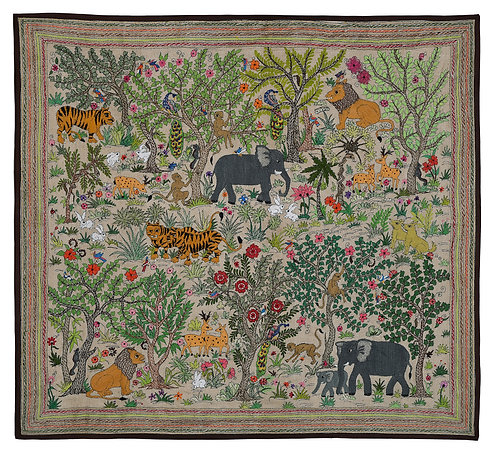 Kantha StitchArt: Jungle Scene/001